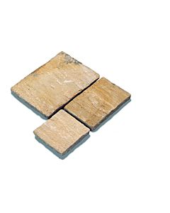 PAVESTONE NATURAL SANDSTONE PAVING GOLDEN FOSSIL 20.7M2 CB CALIBRATED 18MM PROJECT PACK (4 SIZES 600 GAUGE)